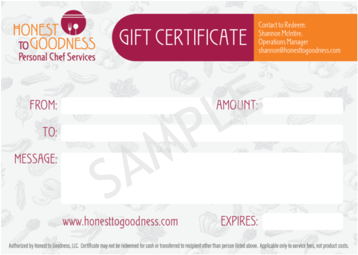 Seattle Personal Chef Gift Certificate Honest to Goodness