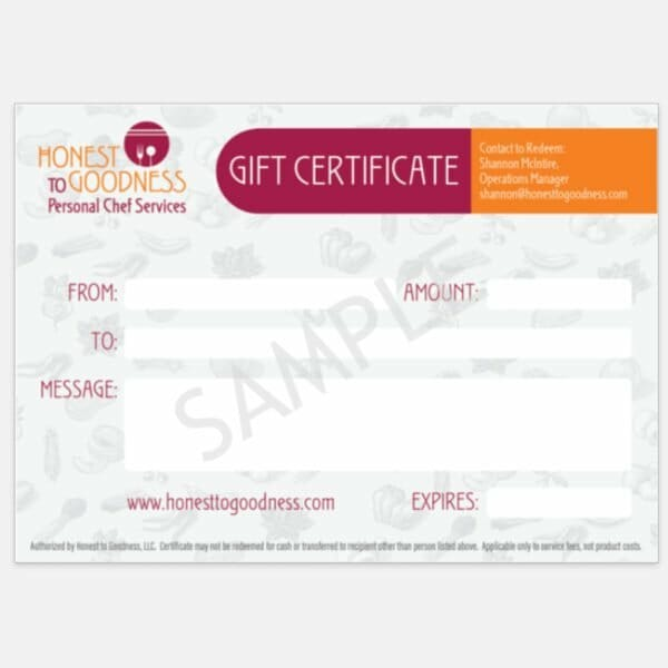 personal chef gift certificate
