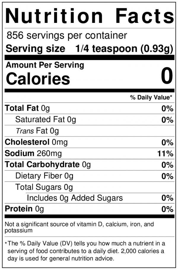 brine nutrition label